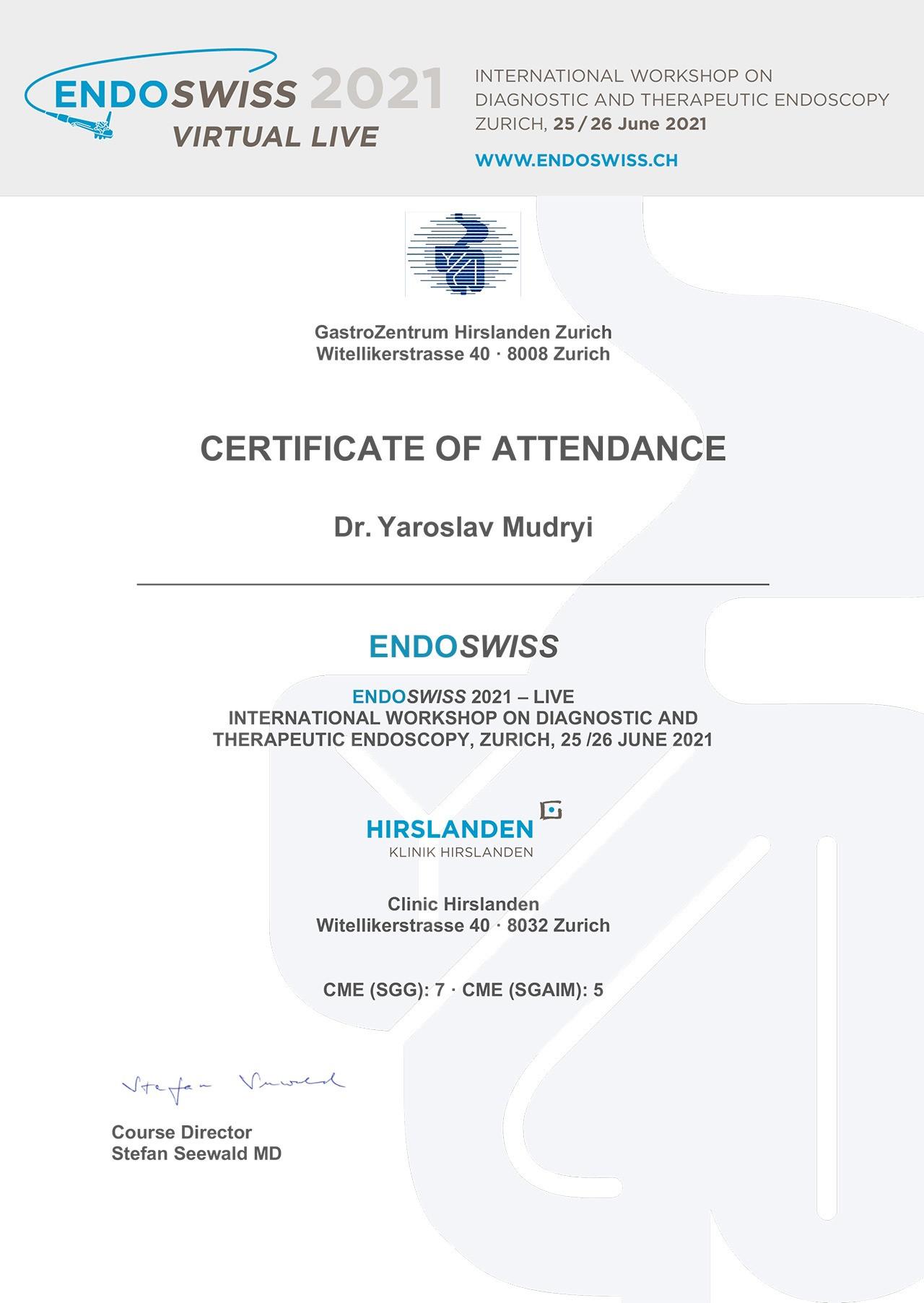 Сертификат об участии в международном семинаре по диагностической и терапевтической эндоскопии, Цюрих, Швейцария