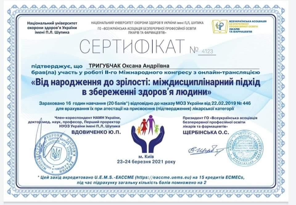 Сертификат об участии во 2 м международном конгрессе с онлайн трансляцией