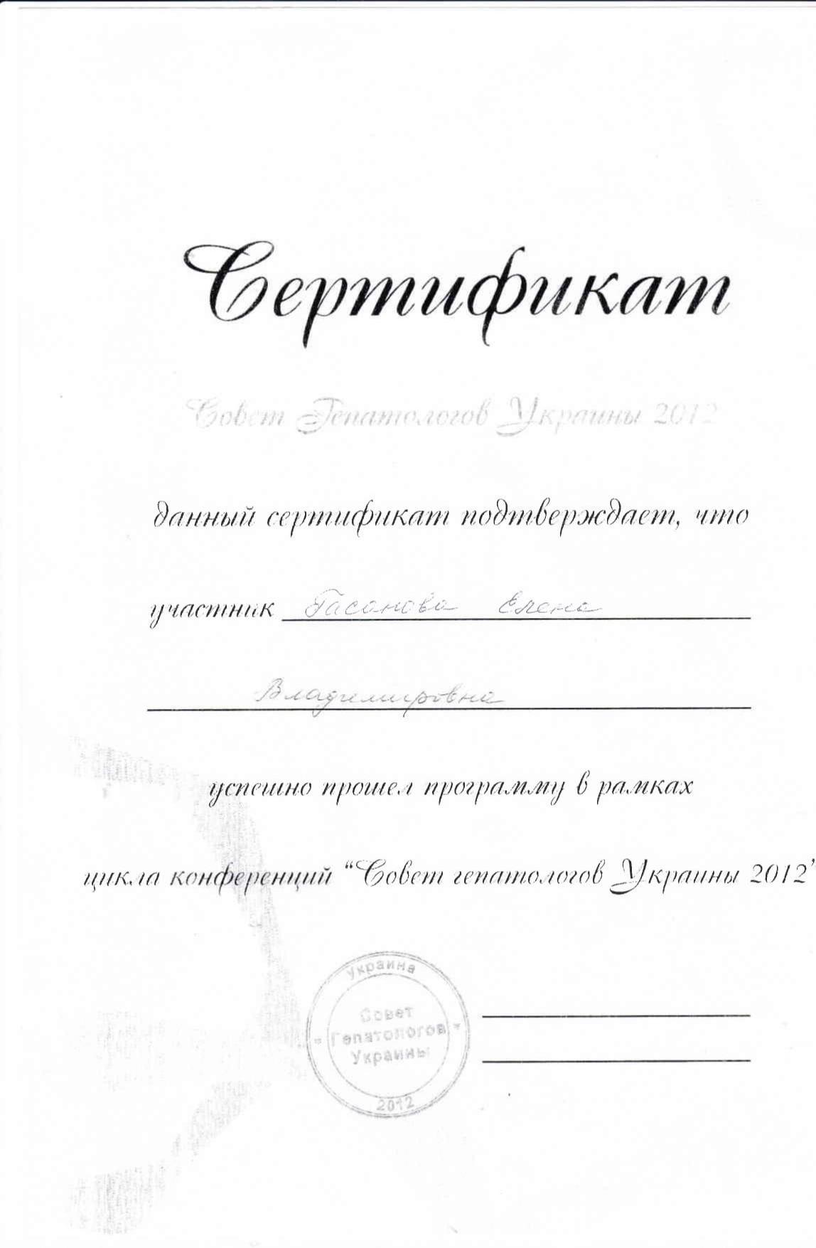 Сертификат о прохождении программы в рамках цикла конференций