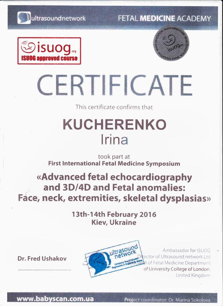 Сертификат об участии в интернациональном симпозиуме