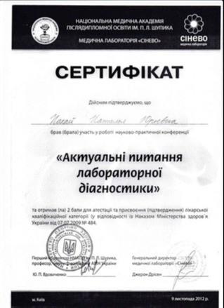 Сертификат об участии в научно-практической конференции