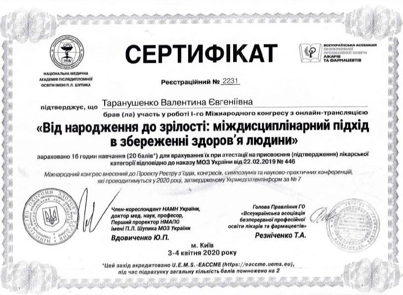 Сертификат об участии в І Международном конгрессе с онлайн-трансляцией