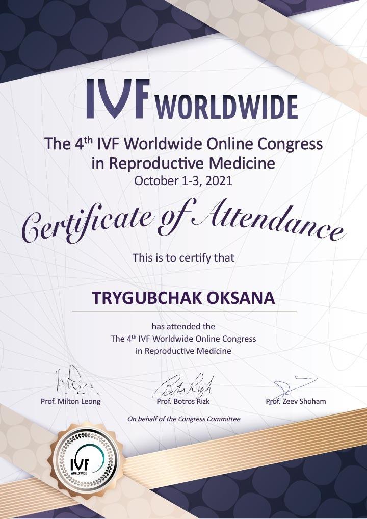 Сертификат об участии во всемирном онлайн конгрессе