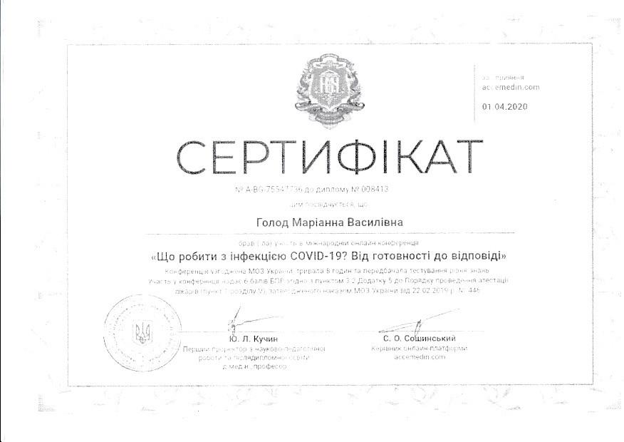 Сертификат об учстии в международной онлайн конференции